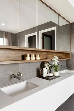 55 Stunning Farmhouse Bathroom Mirror Design Ideas And Decor - . 55 Stunning Farmhouse Bathroom Mirror Design Ideas And Decor - Always aspired. Farmhouse Bathroom Mirrors, Bathroom Mirror Design, Bathroom Renos, Bathroom Inspo, Modern Bathroom Design, Bathroom Styling, Bathroom Interior Design, Bathroom Renovations, Bathroom Ideas