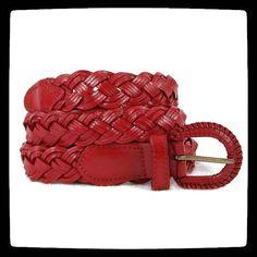 04e0c6d6d43 Ceinture  rouge en cuir tressé - un jolie  ceinture tressée en  cuir pour