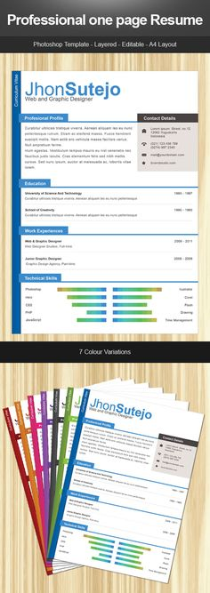 Professional one page curriculum template in different color variations
