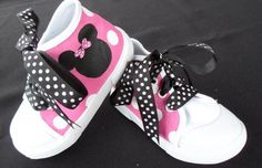 Minnie Mouse High Top Shoes w/Polka Dot Laces by tickledtoes, $36.00-?disney trip