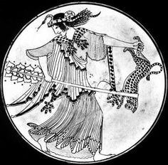 """An ecstatic Greek priestess holding the sacred herb carrier, the thyrsos, and the jaguar, symbol of her ferocity. She wears the magical snake in her hair - not a bringer of evil fruit, but symbol of her vegetal power to heal or destroy. The Brygos painter, c.490 BC."", Layne Redmond"