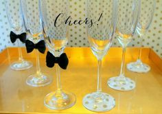 Linen, Lace, & Love: New Year's DIY: Decoupage and Bow Tied Champagne Flutes