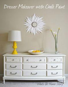 Dresser Makeover with Annie Sloan Chalk paint, sunburst mirror, yellow lamp makeover www.whatsurhomestory.com