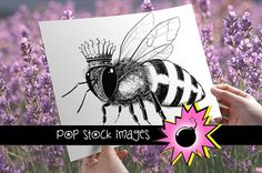 Queen Bee Digital Image Transfer Graphics This large Queen Bee digital image is perfect to transfers onto tote bags, pillows, placemats, tea t by ephemoire