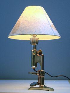 Antique Brass Microscope Lamp Vintage Lighting Geek Nerd Home Decor 1885