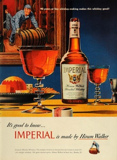 Amazon.com: 1948 Ad Hiram Walker Imperial Blended Whiskey Barrel - Original Print Ad: Home & Kitchen