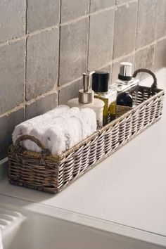 "to ""Hotel-ify"" Your Guest Bath by The Everyday Home – diy bathroom decor Bathroom Organization, Bathroom Storage, Organization Ideas, Storage Ideas, Bathroom Baskets, Basket Storage, Bathroom Counter Decor, Storage Hacks, Storage Design"