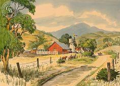 Farm with Horses, California art by Frank Serratoni. HD giclee art prints for…