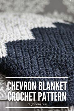 Chevron Crochet Blanket Pattern - Use this FREE crochet pattern to create your next chevron throw blanket. easycrochet.com Chevron Crochet Blanket Pattern, Crochet Ripple Afghan, Chevron Baby Blankets, Chevron Blanket, Easy Crochet Blanket, Afghan Crochet Patterns, Crochet Stitches, Knitting Patterns, Free Crochet
