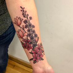 flower tattoo, tattoos, tattoos, floral, botanical, Japanese, magnolia, azalea, delphinium, feminine tattoo, karen glass tattoo, color, bouquet