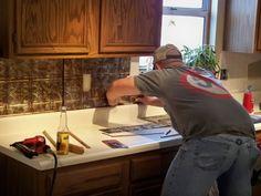 Fabulous Tin Interiors that Bring Vintage Style from Backsplashes to Wallpaper how to install pressed tin backsplash in kitchen Kitchen Redo, Kitchen Backsplash, Kitchen Remodel, Kitchen Tools, Backsplash Ideas, Kitchen Ideas, Rustic Backsplash, Kitchen Layout, Kitchen Stuff
