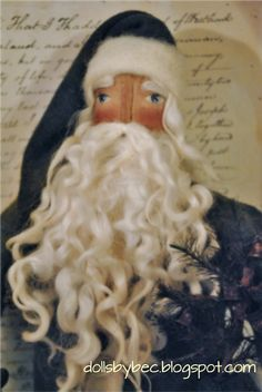 Primitive, Folk Art, OOAK German Style Santa...Olde World Father Christmas with Sheep Pull Toy.. via Etsy.