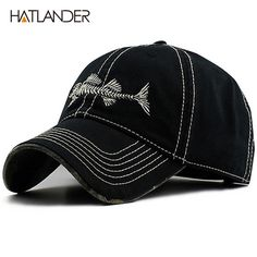 bad111e77f1 LongKeeper High Quality Vintage Baseball Cap Mens Retro Embroider Fishbone  Snapback Caps Cotton Mens Sports Hats 2017 New