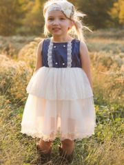 """This Is Our """"Country Couture"""" Flower Girl Dress. So Rustic And Chic The Name Suits The Style!    Although are dresses are designed as Flower Girl Dresses, they can be used for so many other events and everyday occasions!  This Dress HasTiers Of Beautiful Champagne Lace Ruffles Along Lace French Trim.Cap Sleeves Add The Perfect Touch Of Elegance. This Dress Is The Perfect Mix Of Vintage, RusticAndChic! Includes Headband & Sash Pictured Does Not Include Tiny Ribbon Bow ..."""