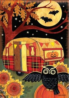 Halloween Camper Garden Flag from Just for Fun Flags. Enjoy fright night with this Halloween Camper garden flag by artist Jennifer Brinley for Breeze Art . The bat and jack-o-lantern design is visible from both sides of the flag. Garden s Retro Halloween, Halloween Prints, Halloween Pictures, Holidays Halloween, Happy Halloween, Halloween Decorations, Halloween Camping, Halloween Sewing, Halloween Magic