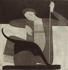 Artist: Will Barnet Title: Woman, cat and yarn Year: 1980 Medium: Serigraph, signed in pencil Painting People, Figure Painting, Character Design Inspiration, Painting Inspiration, Inspiration Artistique, Cat Drawing, Crazy Cats, Figurative Art, Cat Art