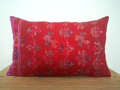 """12""""x 20"""" Bohemian Chic Vintage Chinese Maonan Wedding Blanket Pillow Cover / Brick Red Color Ethnic Dowry Textile / Handwoven Silk Cushion by HillTribesTreasures on Etsy"""