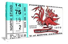 Great 1970 South Carolina football ticket canvas art. http://www.shop.47straightposters.com/1970-South-Carolina-Football-ticket-art-70-SC.htm