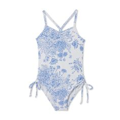 a800cee1f7532 Stella Cove provides Beautiful blue flowers screen printed on a soft white  swimsuit make our Swimwear for Girls ...