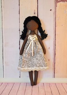 rag doll,Small soft doll, Textile Doll, black doll Made of natural materials, cotton. Height of 12 inches (30 cm). This doll can be beautiful home decoration, or nice gift for girl Please contact me if you have any questions about anything you would like to know.