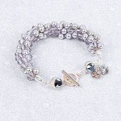 Learn how to make the Lilac Haze Bracelet using Swarovski Pearls and Bicones Beads Direct, Swarovski Pearls, Jewelry Crafts, Lilac, Beaded Bracelets, Beading, How To Make, Silver, Jewellery