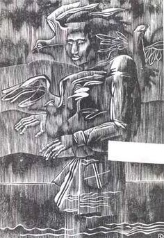 Yu.Votyakov.Spokoynoe ozero.1976    Houtsnede
