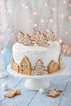 """Gâteau """"Village sous la neige"""" (citron, cream cheese au citron, meringue italienne, sablés/pain d'épices)"""