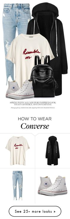 """20:54"" by monmondefou on Polyvore featuring GRLFRND and Converse"