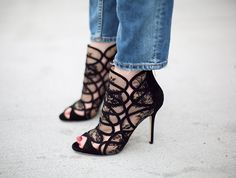 Jimmy Choo: Fauna Black Lace and Suede Booties