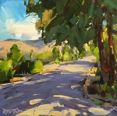 cathleen rehfeld • Daily Painting: #998 Sun and Shadows On The Road