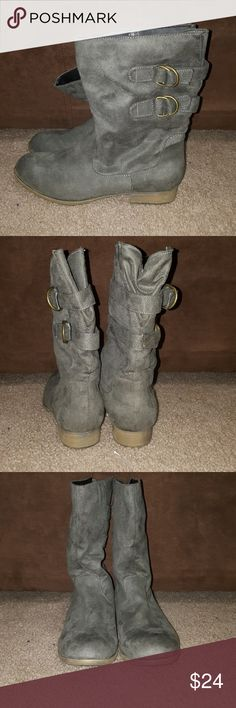 Mossimo Grey Boots Brand: Mossimo Supply CO. Size: 8.5 Color: Grey Style: Two strap design  Worn out to a party still in great condition, no scratches or scuffs.  Buyers can expect: Careful packaging, Fast shipping, & Delivery confirmation with each item purchased! PET FREE HOME & SMOKE-FREE HOME. Please note: Due to lighting and monitors, the items colours may be slightly differ with the picture. Mossimo Supply Co. Shoes Ankle Boots & Booties