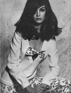 British model Jean Shrimpton by David Bailey for Vogue (UK?), 1967.