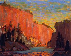 """Petawawa Gorges"" by Tom Thomson. A member of the group of seven painters. Group Of Seven Art, Group Of Seven Paintings, Mountain Landscape, Landscape Art, Landscape Paintings, Abstract Paintings, Art Paintings, Landscapes, Emily Carr"