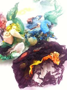 Textile tests for necklace by Nia Davies,  student at UCA Rochester Contemporary Jewellery