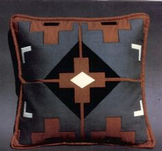 """""""NAVAHO"""" Silk noil on silk noil appliqued pillow inspired by the Southwest. Hand cut/machine stitched without the aid of computers 20"""" x 20"""""""