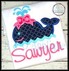 Whale Girl Applique Design  Embroidery Applique  by EandOApplique