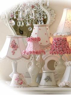 Luminary Loveliness ❀⊱Lamps, Shades & Sconces⊰❀ Yummy Pinks and Whites