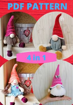 4 CROCHET PATTERN - 2 Gnomes Gnome-girl and big gnome amigurumi Simple instructions Plush handmade items Handmade Toys, Handmade Crafts, Handmade Ideas, Crochet Mouse, Crochet Dolls, Crocheted Toys, Jute Crafts, Happy Birthday Gifts, Funny Toys