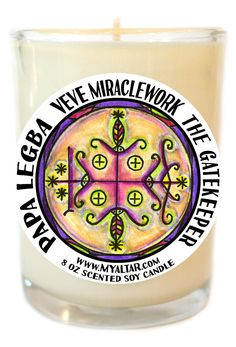Papa Legba Veve Gatekeeper Grants Permission Magic 8 Oz Glass Candle