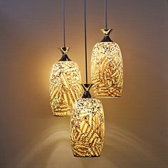 Country Style Mosaic Glass 3 Light Pendant – USD $ 99.99