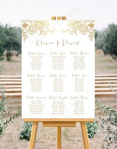 Personalised Wedding Seating Chart. *Design, Print & FREE Delivery*  Gold Floral Design  Prices start at £16.