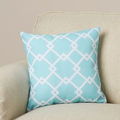 "Mercury Row Hypatos Geometric Throw Pillow Size: 20"" H x 20"" W, Color: Aqua"