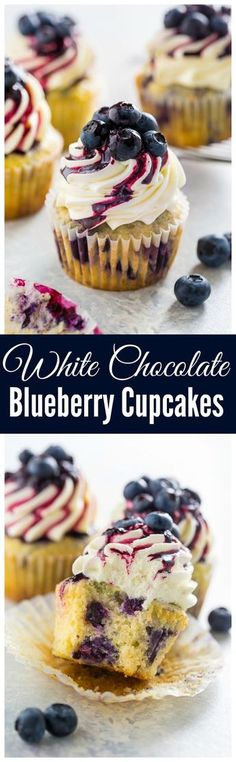 Stunning and delicious, these White Chocolate Blueberry Cupcakes are a must bake for blueberry lovers! Stunning and delicious, these White Chocolate Blueberry Cupcakes are a must bake for blueberry lovers! Mini Desserts, Just Desserts, Delicious Desserts, Dessert Recipes, Yummy Food, Delicious Cupcakes, Gourmet Cupcake Recipes, Plated Desserts, Cupcake Flavors