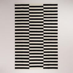 Black and White Striped Dhurrie Rug | World Market
