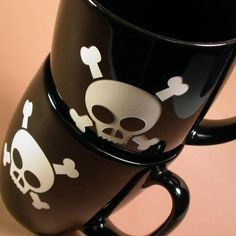 Skull and Crossbones Mug  Black as Night by BreadandBadger on Etsy, my son would love these.