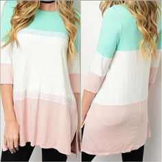 """Mint and Peach Tunic with Ivory Lace Accent  MADE IN USA - this stunning 3/4 sleeve loose fit tunic has color blocks of mint on the top, Ivory in the middle and peach on the bottom separated by an elegant Ivory colored lace. Has side slits for the perfect fit! Apprx 31"""" long. So soft. Fabric Content: 95% Rayon, 5% Spandex. Runs a tad big. Ideal sizing: S(4-6) M(8-10) L(12-14) you may purchase this listing as I've created individual listings for each size. My already low retail prices are…"""