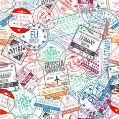 Passport Stamp Seamless Pattern. International Arrivals Sign Rubber, Visa Stamps Stock Vector - Illustration of european, passport: 96457963