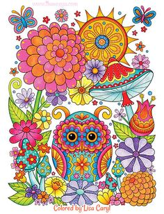 Owl Garden Coloring Page from Thaneeya McArdle's Groovy Owls Coloring Book