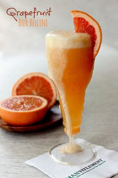 I'm manning up the bellini cocktail here at Mantitlement today with my Grapefruit Beer Bellini. Tart grapefruit juice combined with beer makes a surprising cocktail that's perfect for brunch! Party Drinks, Fun Drinks, Yummy Drinks, Beverages, Champagne Cocktail, Cocktail Drinks, Cocktail Recipes, Champagne Flutes, Drink Recipes
