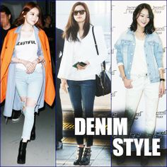 Want to look casually stylish in your denim like Korean stars Kang Min Kyung of Davichi, Hyomin of T-ara, actress Gianna Jun and model Kang Seung Hyun? Then try one of these three hot K-Fashion denim trends. Korean Star, Denim Trends, Fashion Updates, Denim Fashion, Jun, That Look, Bomber Jacket, Vogue, Actresses